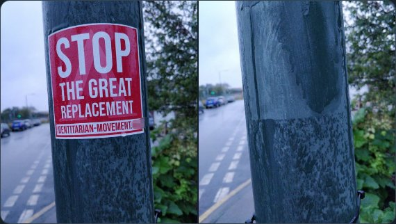 """A crappy sticker which says """"Stop the great replacement."""" In the next photo it has been torn off."""