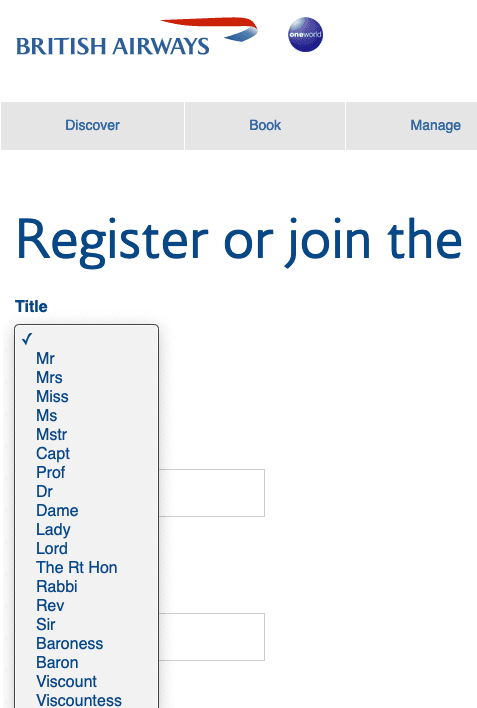 The BA website start Mr Mrs then goes Captain Professor Doctor Dame etc. There is no apparent ordering.