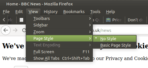 Firefox menu. Go to View, the Page Style, then No Style.