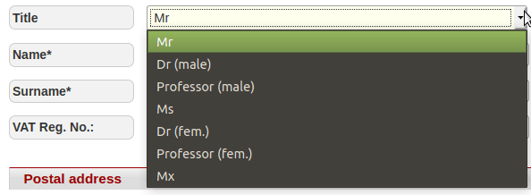 Mr. Dr (Male). Professor (male). Ms. Dr (fem). Professor (fem). Mx.