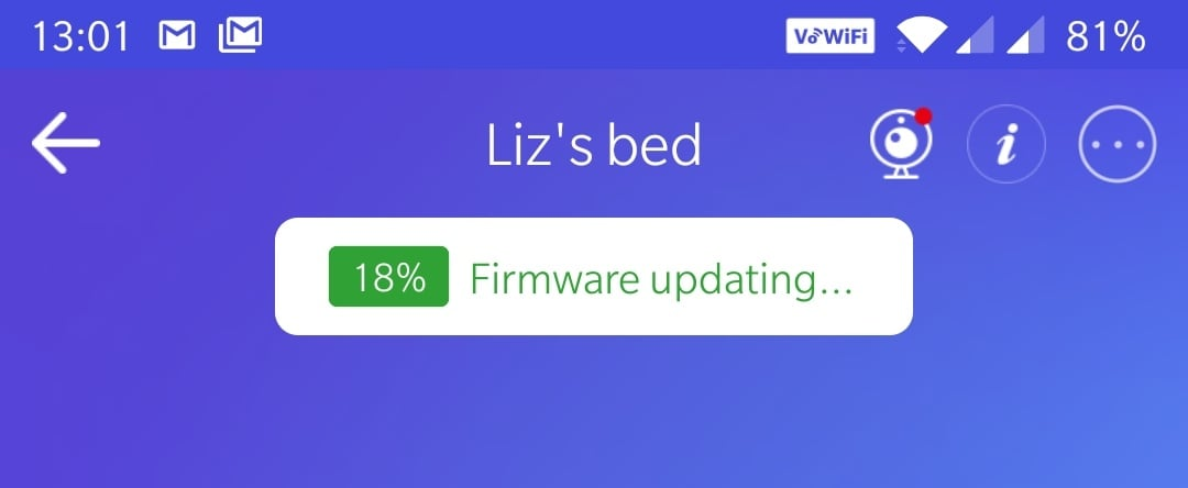 App screenshot saying it is now updating the firmware of Liz's bed.