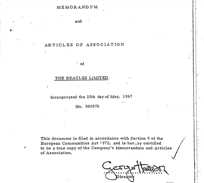 Legal document signed by George Harrison.