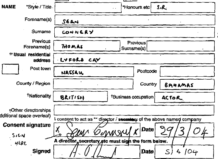 Sean Connery's signature on a legal document.