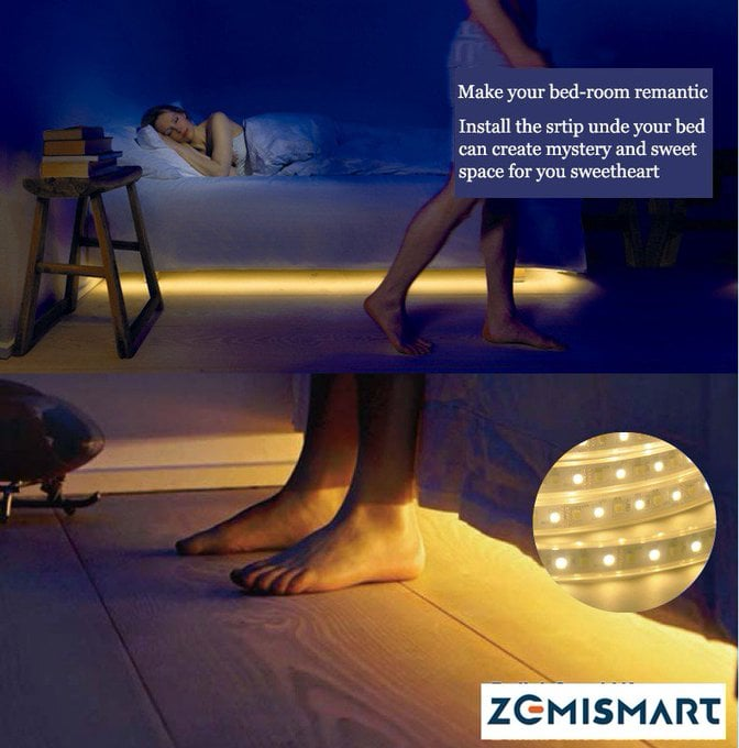 Poster advertising remantic [sic] under bed lighting.