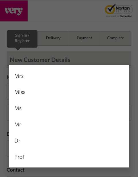 The title list on this shopping website goes Mrs Miss Ms Mr Dr Prof.