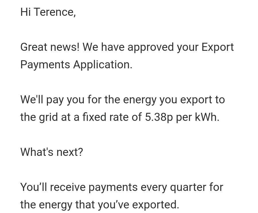 Email from Bulb saying they've set up an export payment.