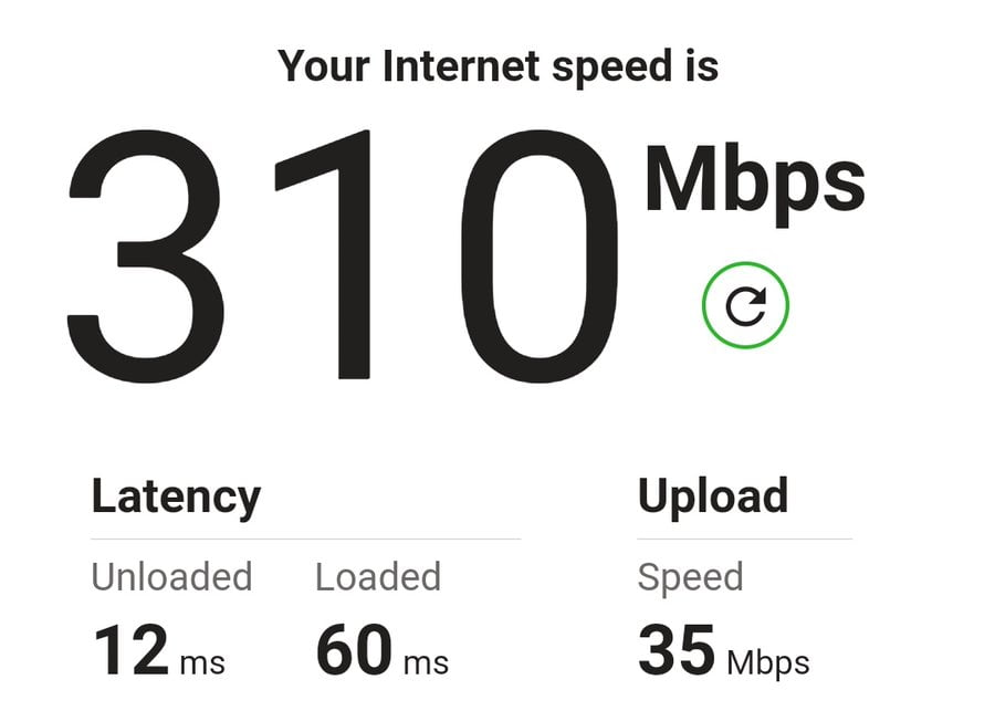A speed test result.