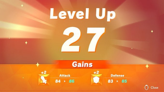 Level Up Screen. I'm now at level 27 and have gained XP.
