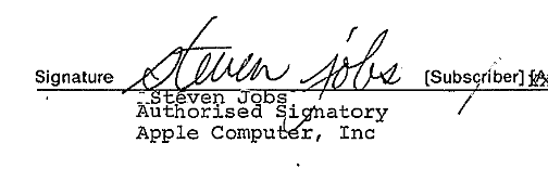Steve Jobs' signature on official paperwork.