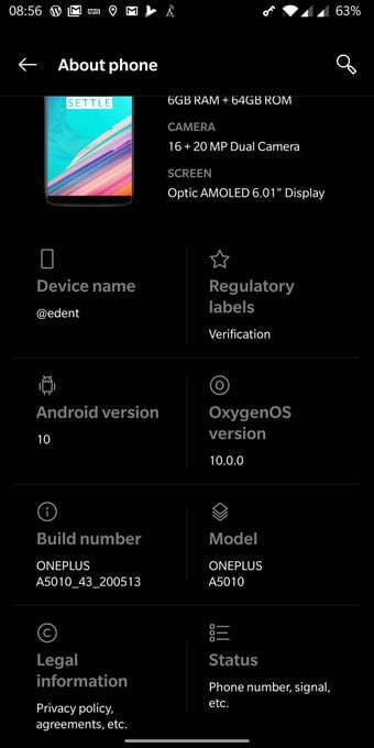 OnePlus 5T status screen showing Android 10.