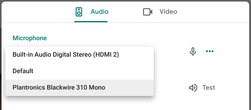 Google Meet lets me choose default, HDMI, or headphones.
