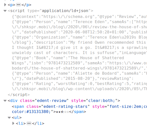 Screenshot of JSON code in a web page.