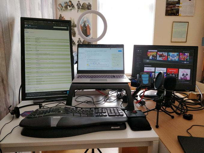 Three monitors.