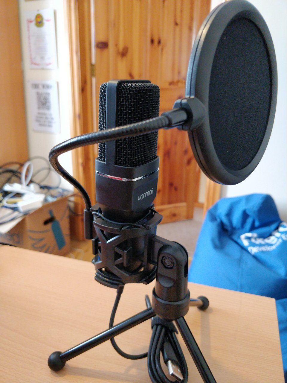 An upright microphone.