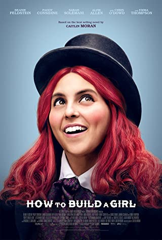 A girl with dyed red hair, wearing a top hat, looks to the stars and smiles.