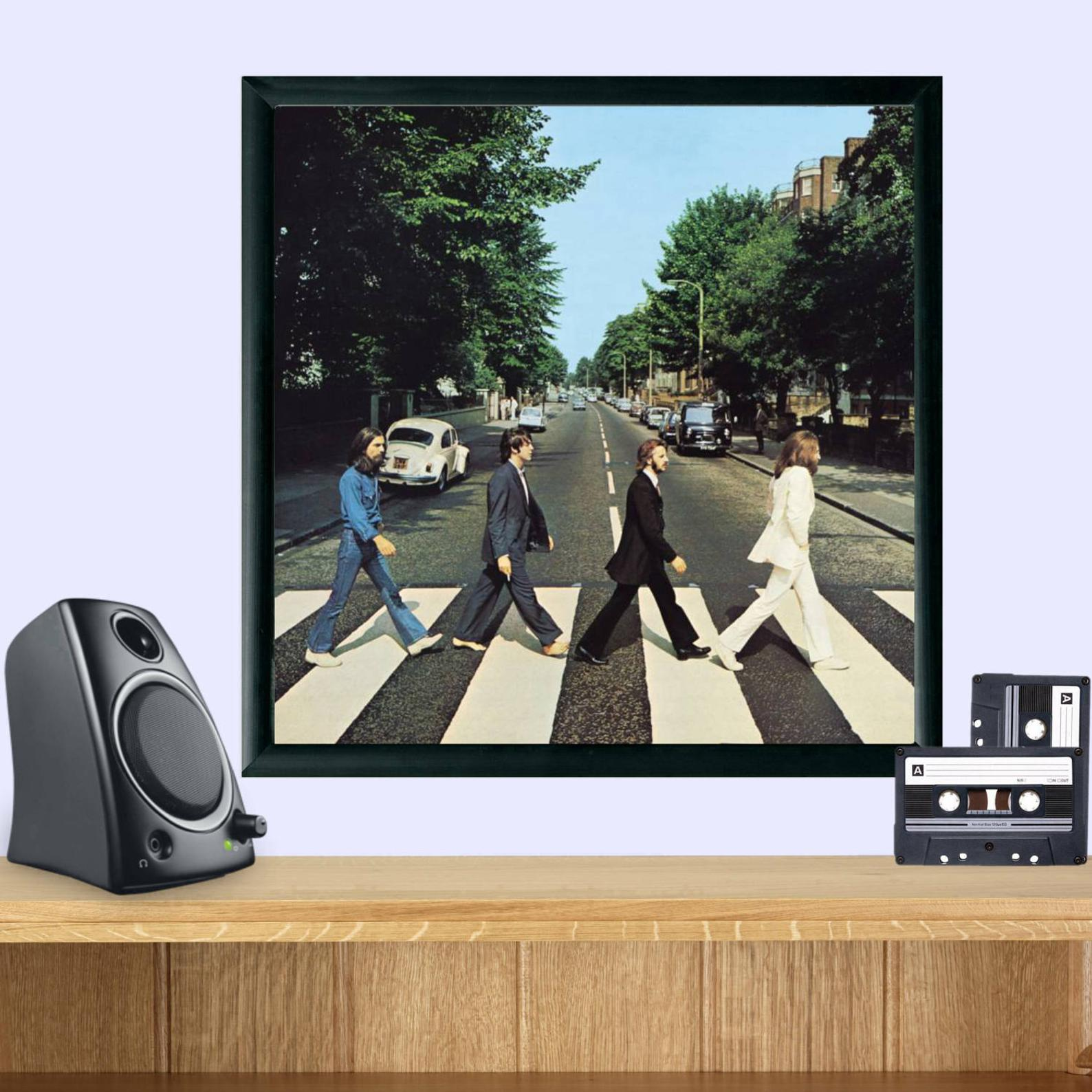 A franed copy of Abbey Road.
