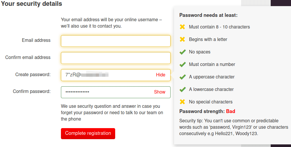 A screen with annoying password requirements.