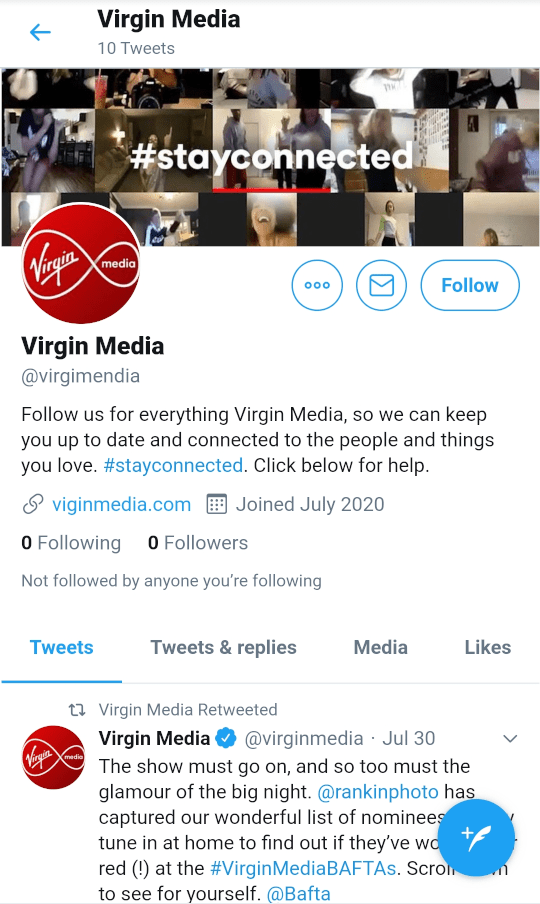 A fake Twitter account.