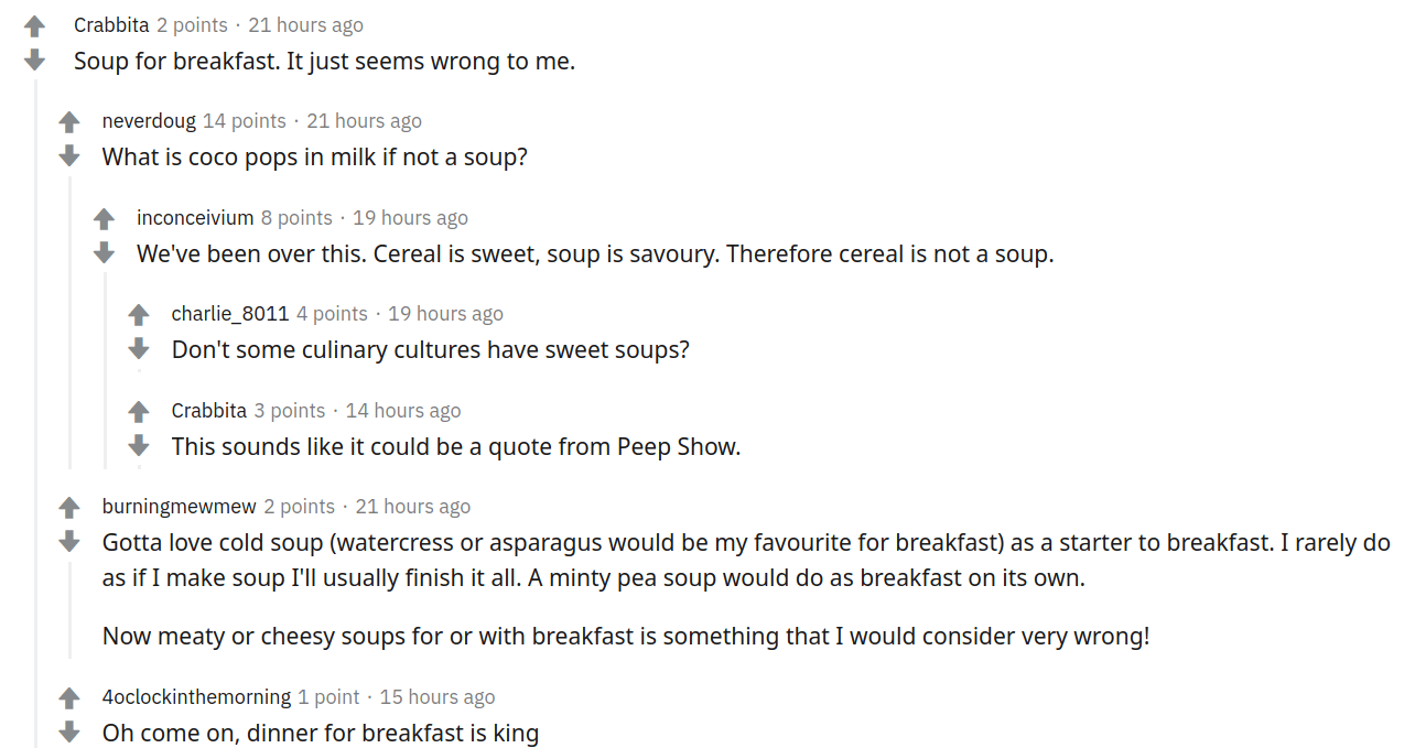 A visual list of indented messages about soup.