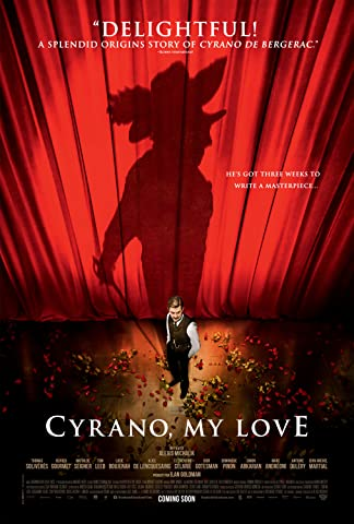 The shadow of Cyrano de Bergerac is projected onto a theatre curtain.