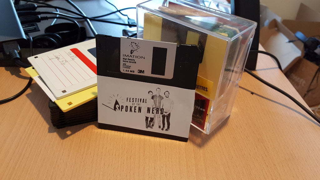 Podcast on a floppy disk.