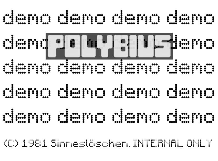 Internal demo disk for Polybius.