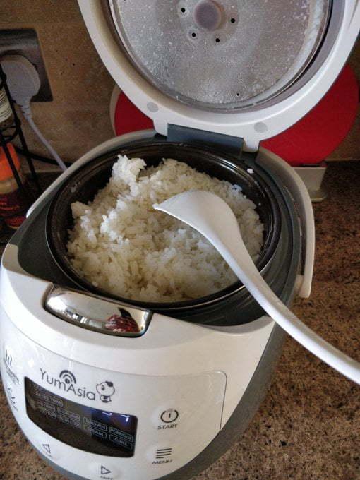 Rice cooker full of rice.