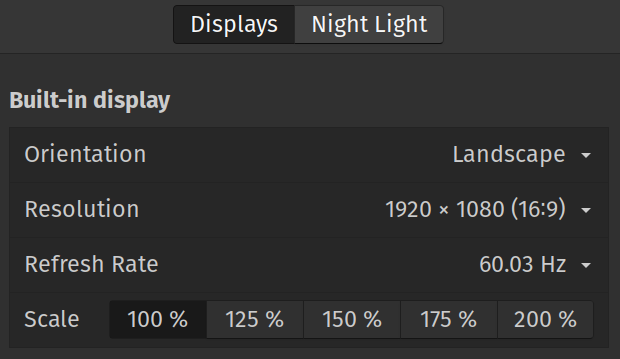 A scaling display options screen.