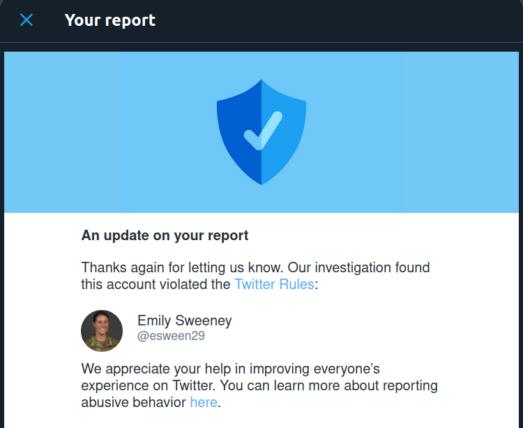 A report from Twitter saying an account was suspended.