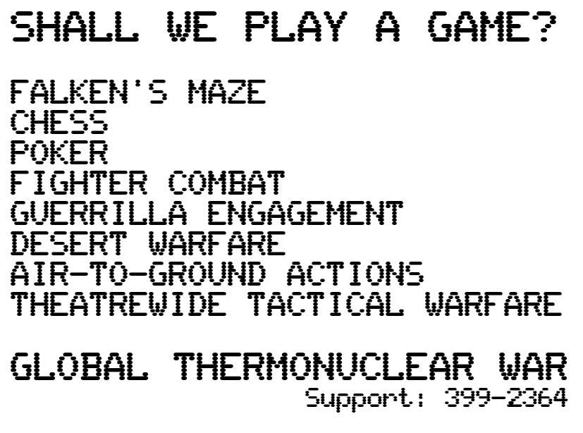 List of all the games on Falken's WOPR.