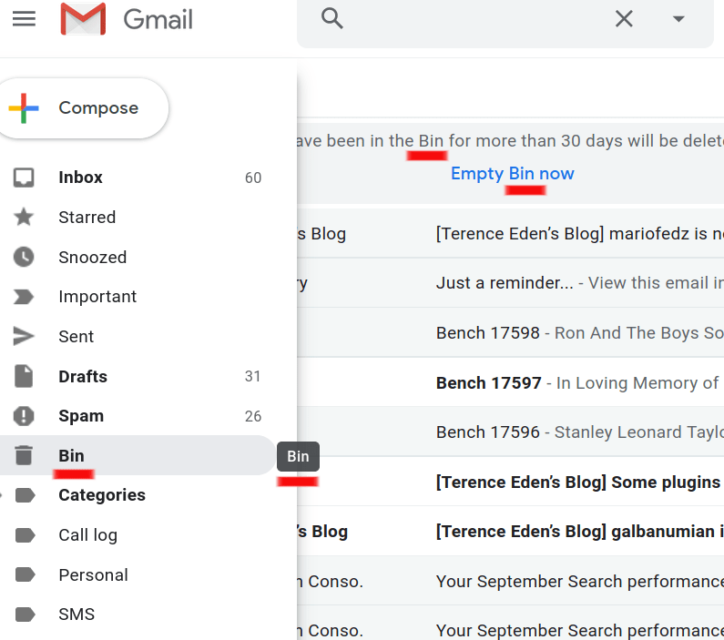 Google email interface.