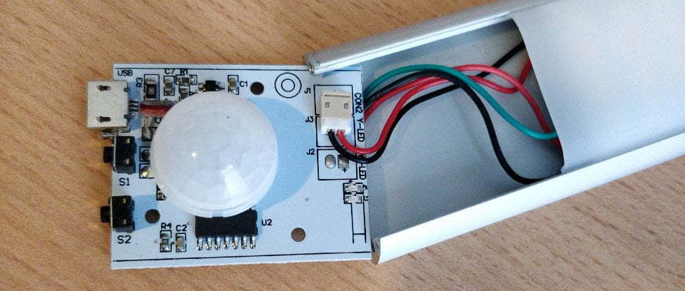 Circuit board with PIR sensor.