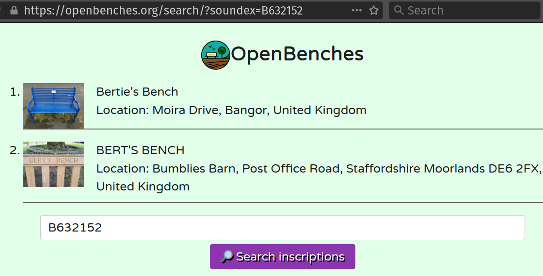 """Benches on a website. One is called """"Bertie"""" the other """"Bert""""."""