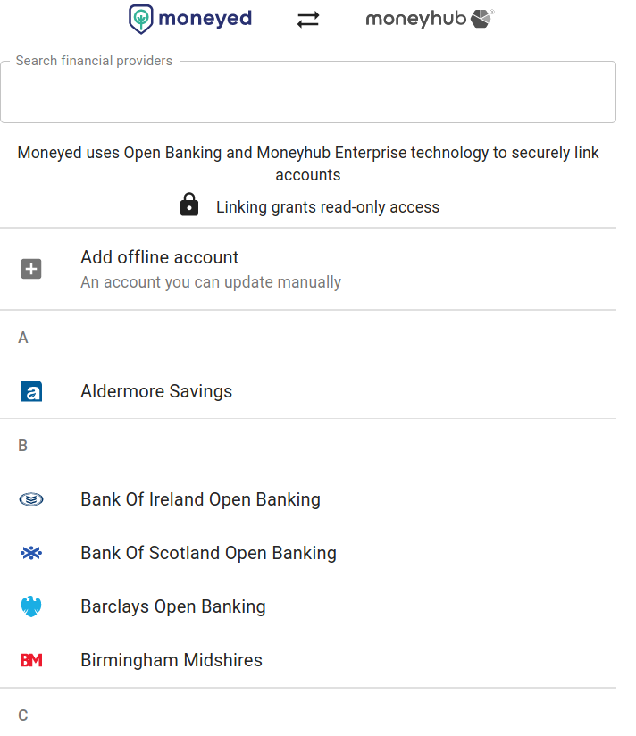 List of OpenBanking providers.