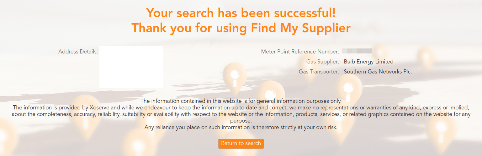 """Screen saying """"Your search has been successful!"""" and then my MPAN and supplier details."""