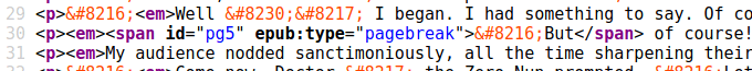 HTML code - a span wraps the first word of a sentence..