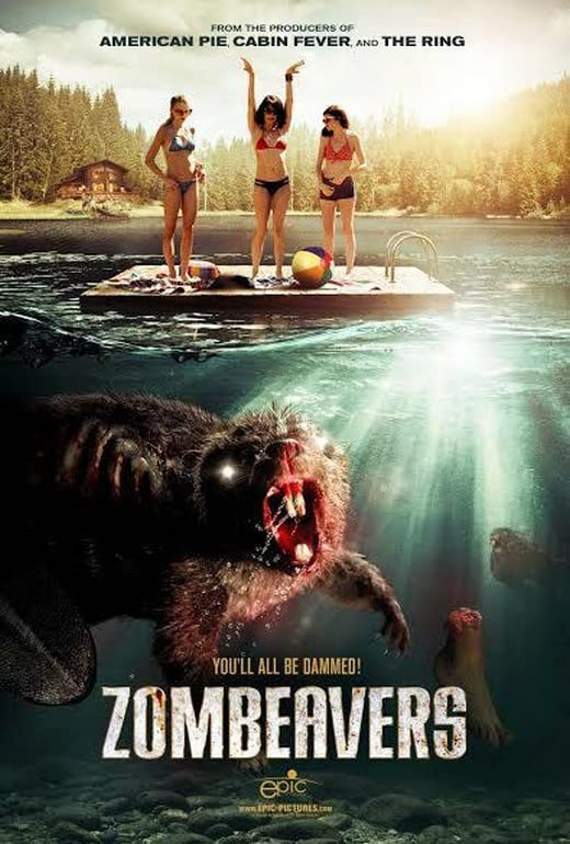 A zombie beaver menaces a group of young women.