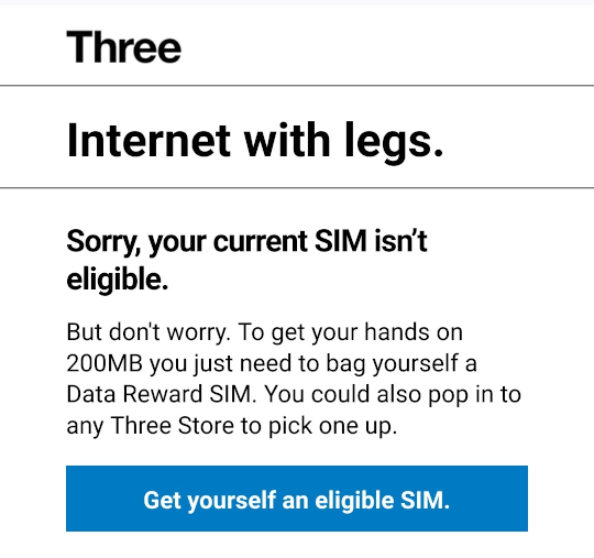 Your current SIM isn't eligible error message.