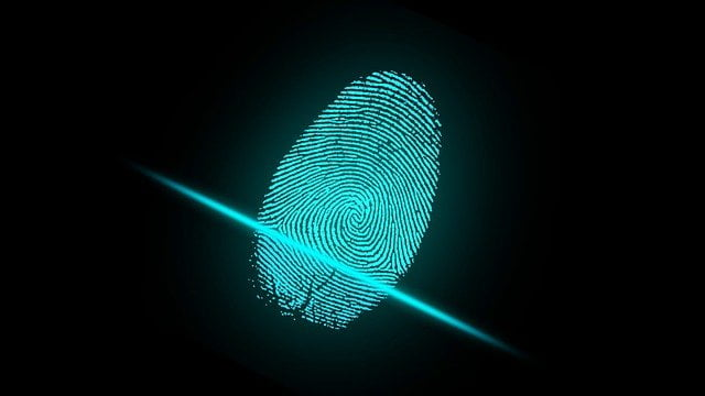 A fingerprint being scanned.