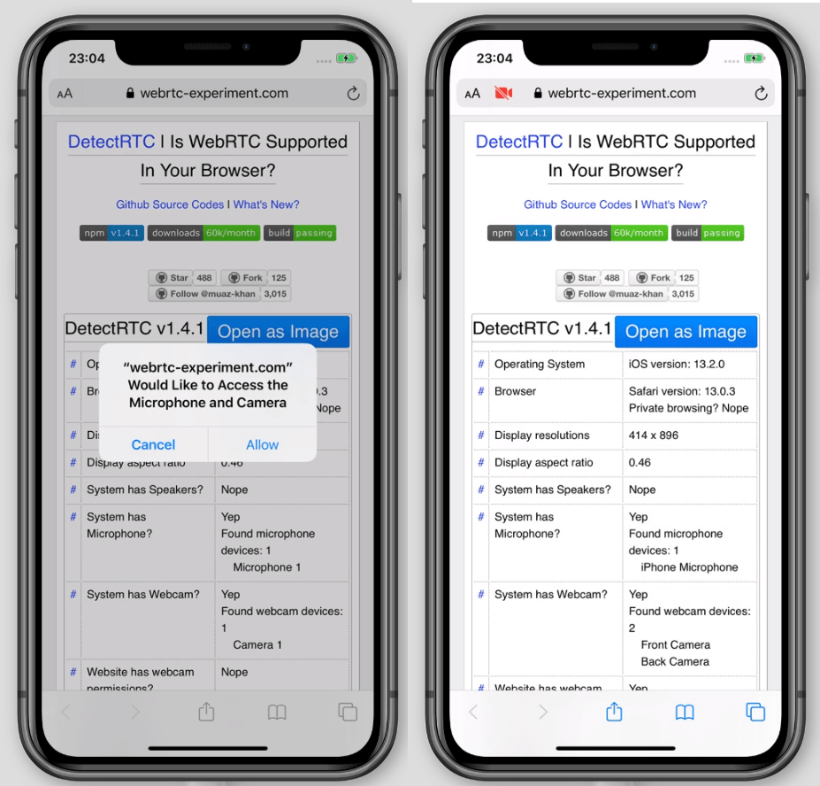 Screenshots of the iPhone showing fake data until permission is granted.