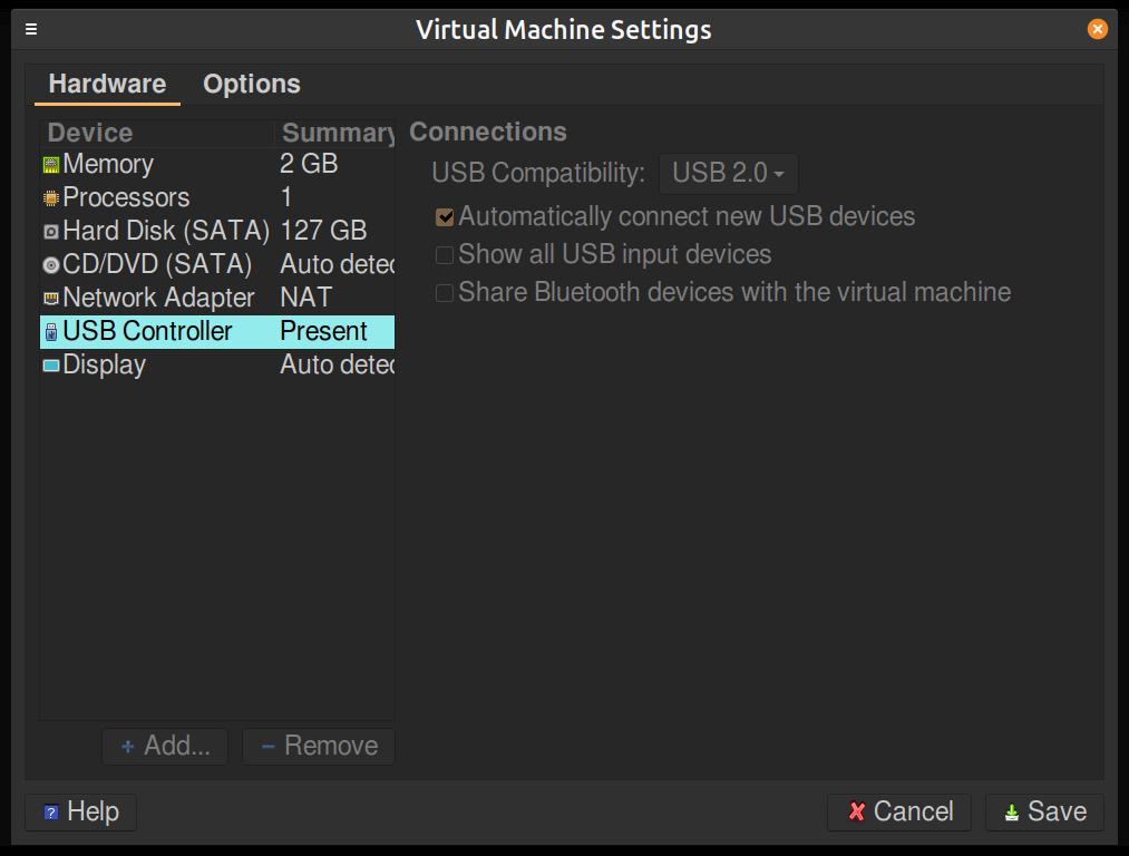 VM Settings Screen.