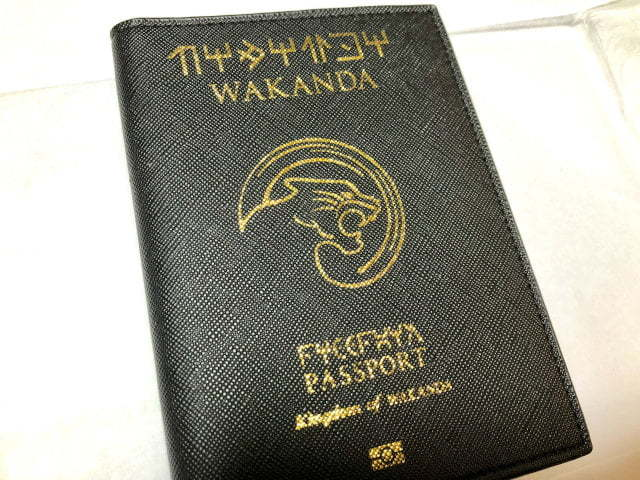 A mocked up passport which looks like it has been issued by the fictional country of Wakanda.