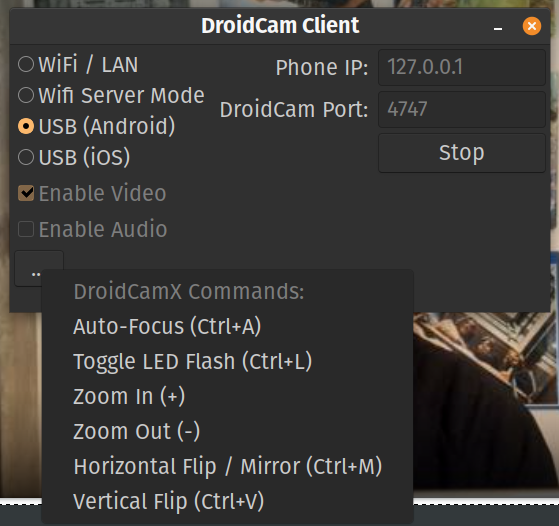 A settings screen with options to stream over WiFi or USB.