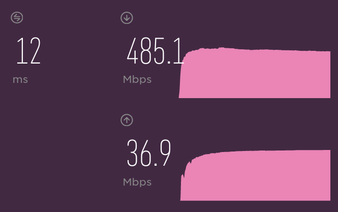 Speed test results showing 485Mbps.