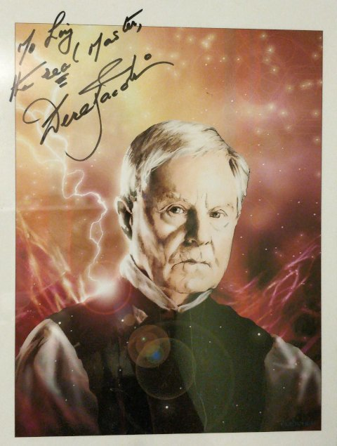 Signed picture of Derek Jacobi.