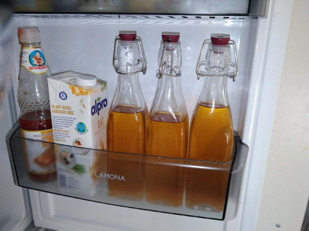 Bottled beer in fridge.