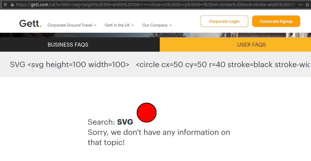 A red circle drawn onto the website.