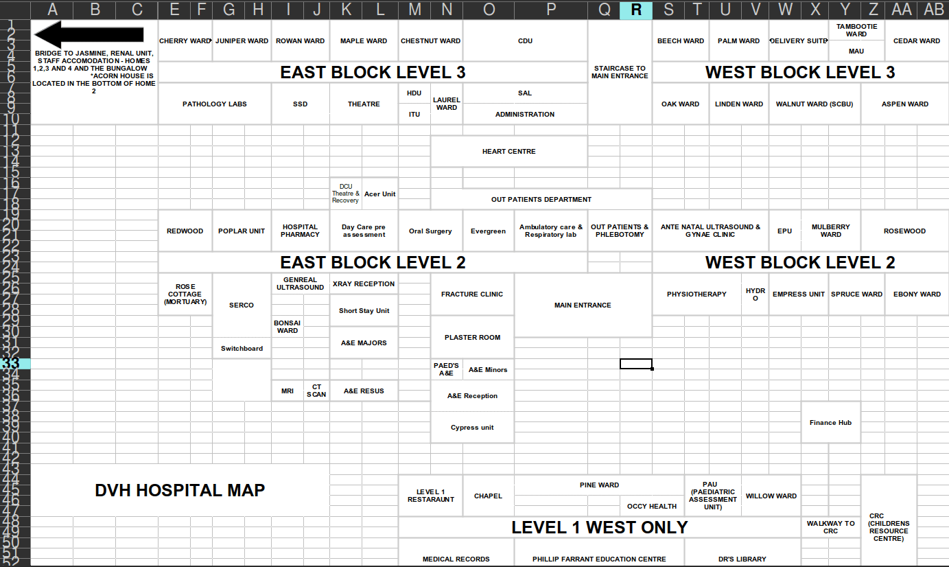 A blocky map drawn in a spreadsheet.