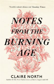 Book cover in flames.