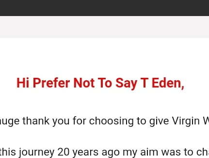 """Email which says """"Hi Prefer not to say Eden."""""""